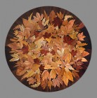 "Autumn Leaves - table top or wall panel 24"" dia. Intarsia by Alardus van den Bosch"