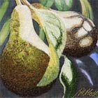 Sunlit Pears - machine embroidery by Alison Holt