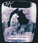'Exit Pursued by a Bear' - engraved glass by Amanda Lawrence