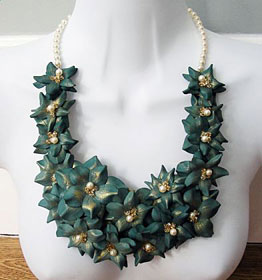 Jade and Pearl Rose necklace - leather jewellery