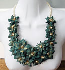 Jade and Pearl Rose necklace - leather jewellery by Amma Gyan