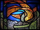 Taliesin - stained glass panel by Angharad Whitfield