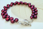 Cranberry Pearl Leaf Toggle Bracelet by Anne Reeves