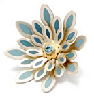 Bloom Brooch - Silver, 18ct gold, aquamarine & blue cold enamel by Barbara Macleod
