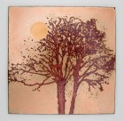 Tree Panel, 100 x 100mm. Vitreous enamel on copper by Carol Griffin