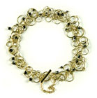 18K Yellow Gold and Faceted Black Diamond Bracelet by Charlotte Verity