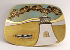 Lighthouse - Stoneware dish with dry glazes, oxides and 22ct gold leaf decoration by Denise Brown