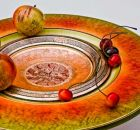 Turned, coloured and gilded wooden bowl and fruit by Dennis Hales