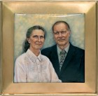 'Wedding Anniversary' - hand-painted vitreous enamel portrait miniature by Gillie Hoyte Byrom