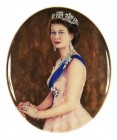"Queen Elizabeth II (after Baron 1952) - vitreous enamel painting on silver - 3"" x 2.5"" by Gillie Hoyte Byrom"