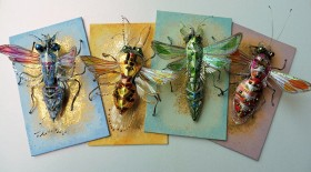 Colourful collection of insect brooches. Recycled plastics & mixed media