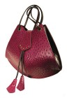Magenta Ostrich Large Scallop Bag by Jane Hopkinson