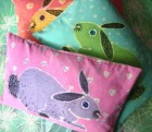 Rabbits Cotton Cushions by Jane Marsh