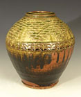Wood Fired Jar with a Paddled Decoration by Phil Rogers
