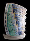 Abstract Brooch - silver, enamel, gold wire by Ruth Ball