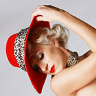 Red Felt with Leopard Trim - bespoke millinery by Sally Harper-Kenn