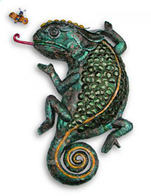 Chameleon and Fly wall piece - recycled metal sculpture made from drinks cans and bottle tops
