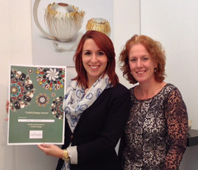 Silversmith and Jeweller Sarah Hutchison with craft&design Contemporary Craft Editor Rachael Chambers