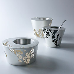 Salt and pepper pots, silverware by Alex Ramsay