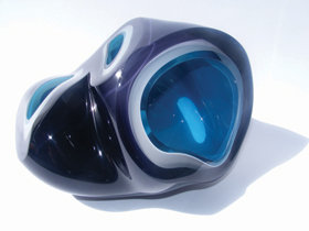 Samantha Donaldson, blue sculptural glass