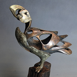Bronze Puffin sculpture by David Cooke