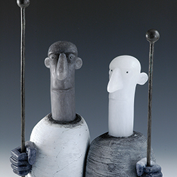 David Reekie: 'Casual Bystanders IX' glass sculpture
